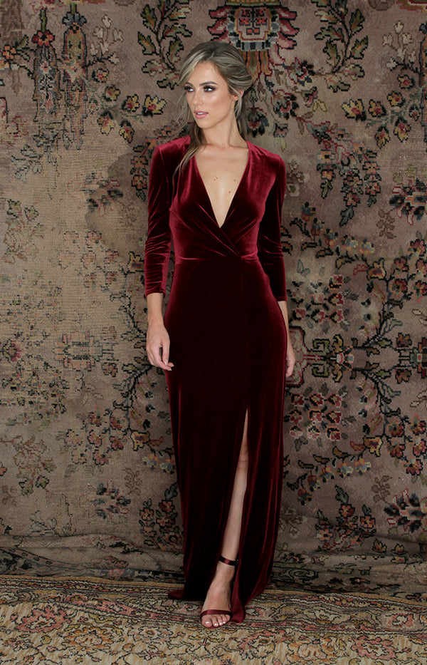 Loni Gown - Burgundy