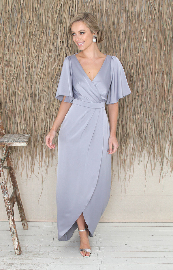 Renata Low Back Gown - Dusty Blue