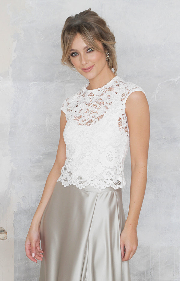 Ava Lace Top - Ivory