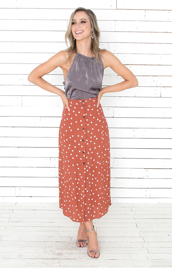 Regan Midi Skirt - Rust