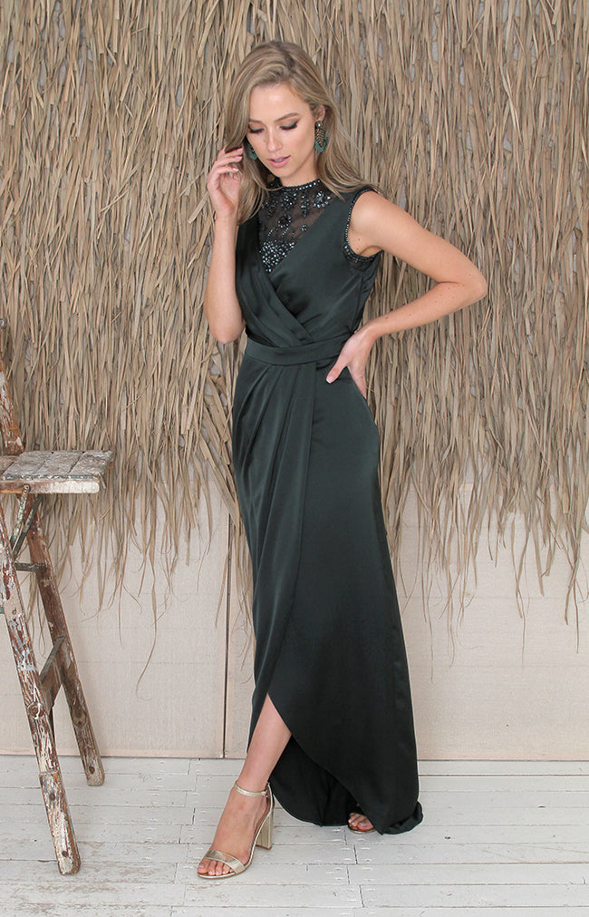 Fabia Low Back Gown - Forest Green