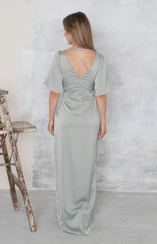 Renata High Back Gown - Sage