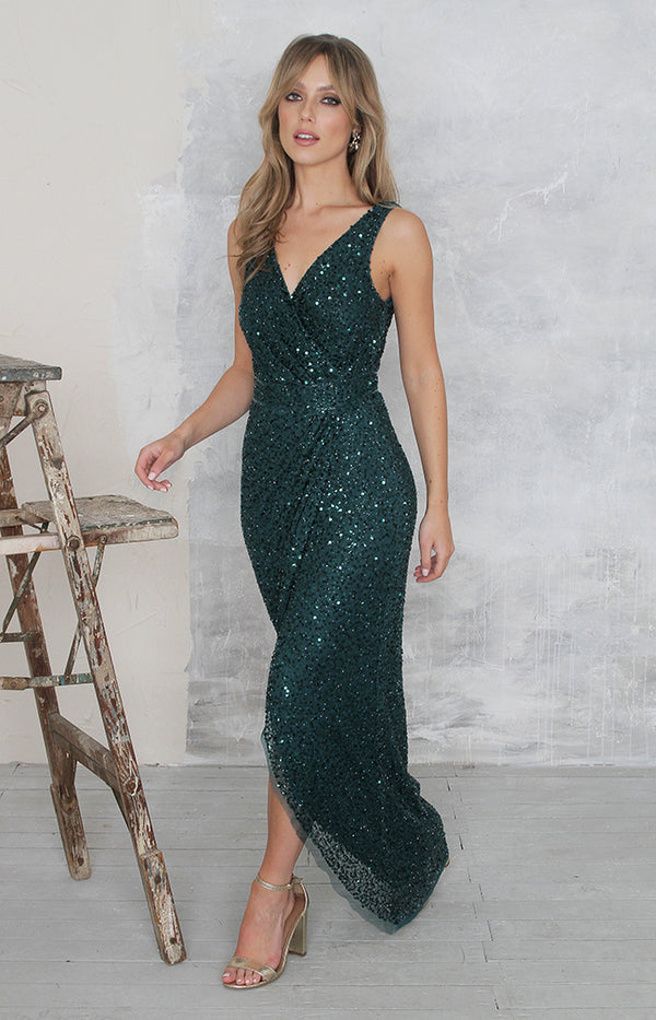 Elisa Gown (hand beaded) - Emerald Green