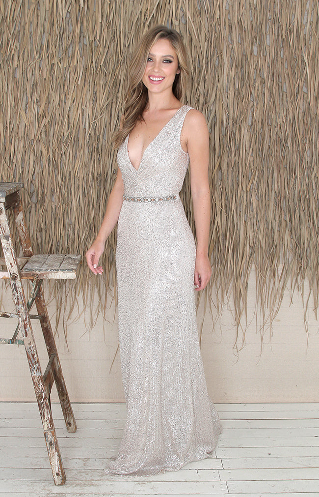 Adalyn Gown - Taupe Shimmer