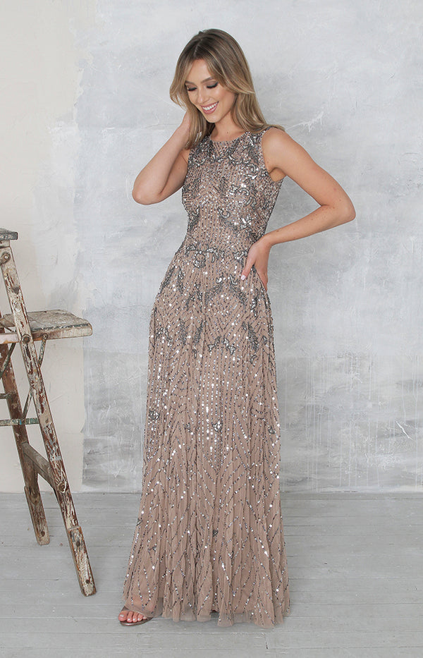 Maisie Gown (Hand Beaded) - Mocha
