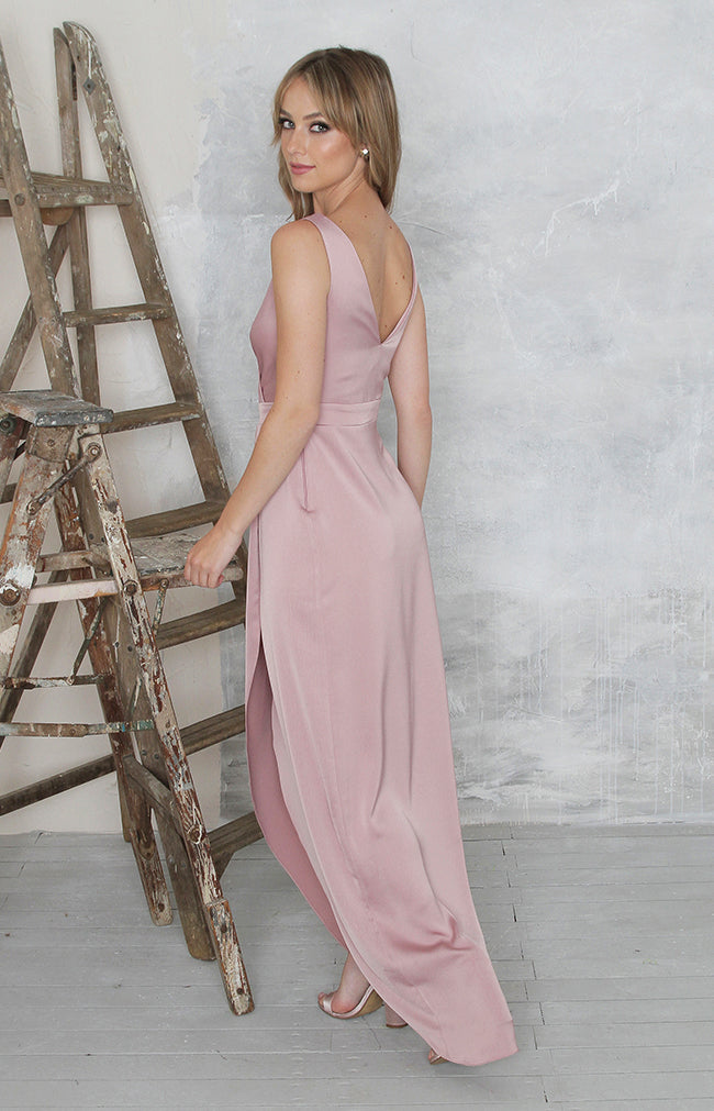 Fabia High Back Gown - Dusty Rose