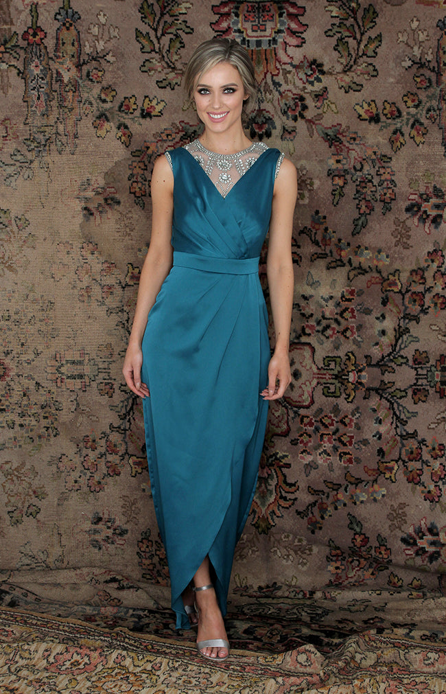 Fabia Low Back Gown - Teal