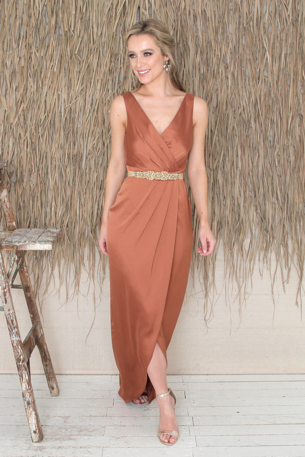 Fabia Low Back Gown - Rust