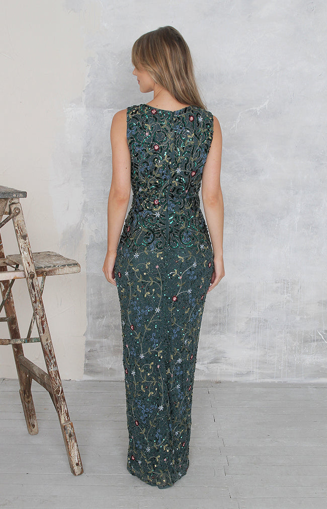 Rosie Gown (hand beaded) - Forest Green