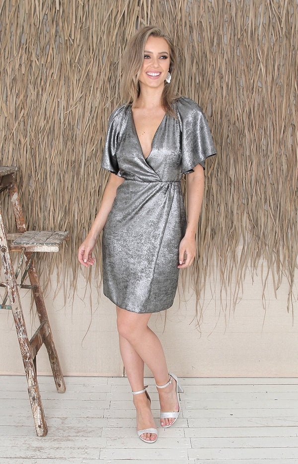 Priscilla Metallic Dress - Silver