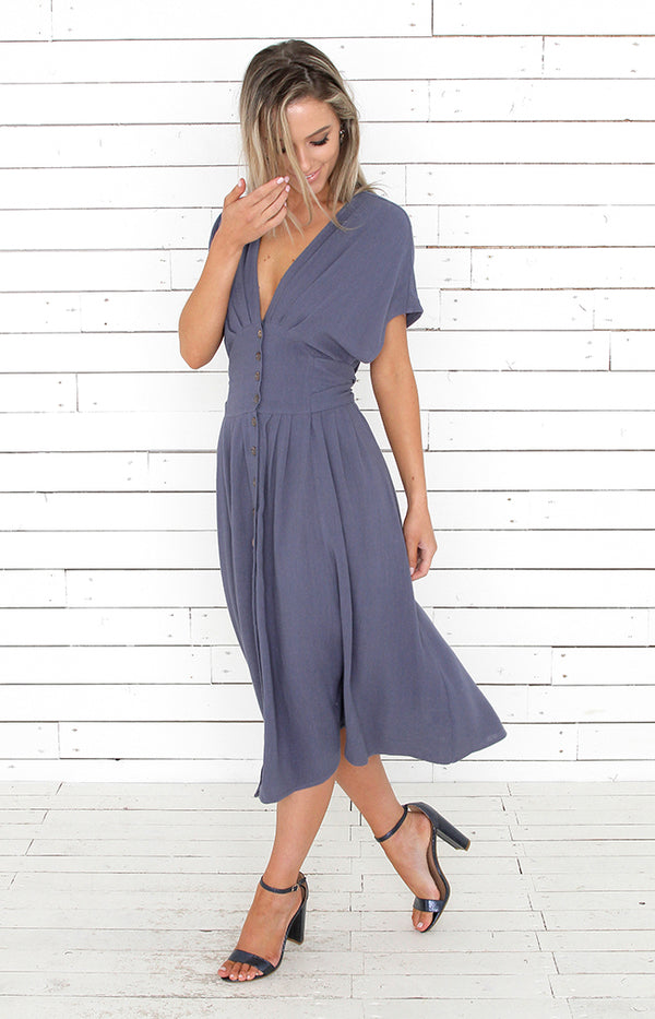 Marley Midi Dress - Dusty Blue