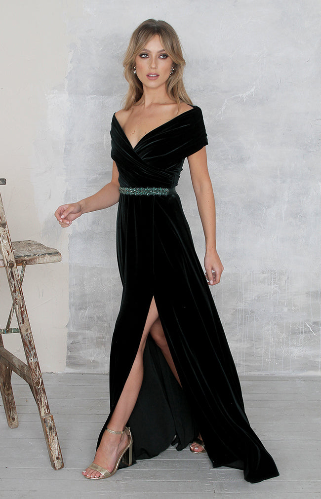 Yvette Velvet Gown - Forest Green