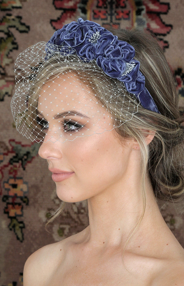 Handmade Velvet Headpiece  - Dusty Blue