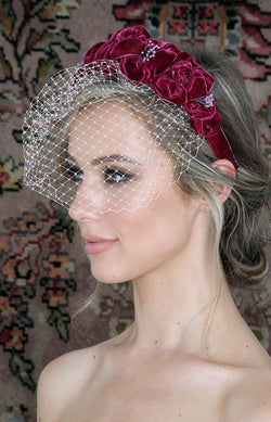 Handmade Velvet Headpiece  - Berry