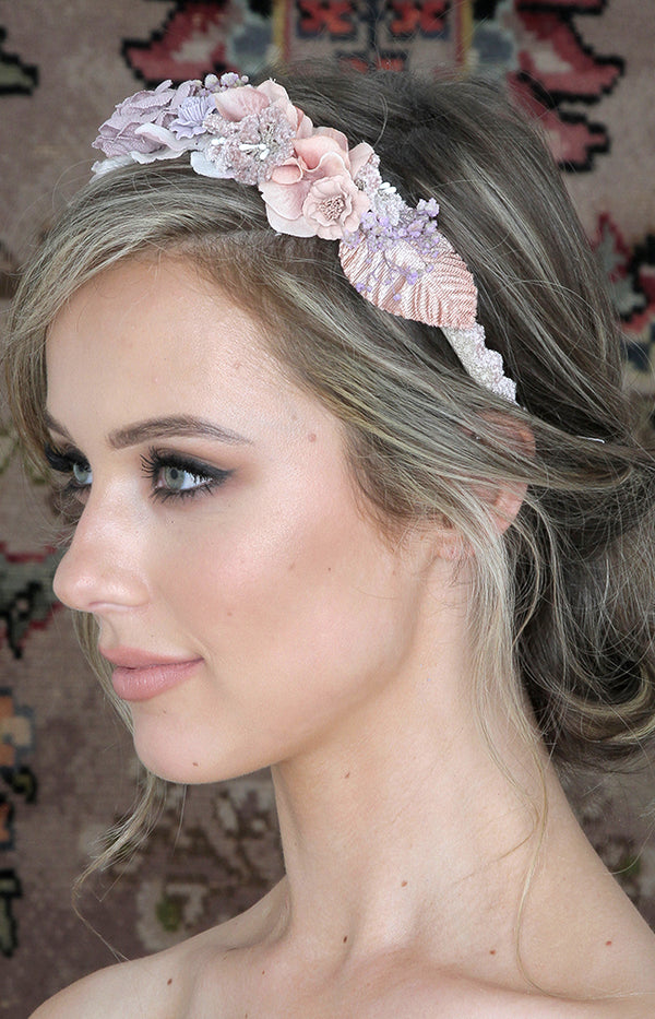 Handmade Floral Headpiece  - Blush