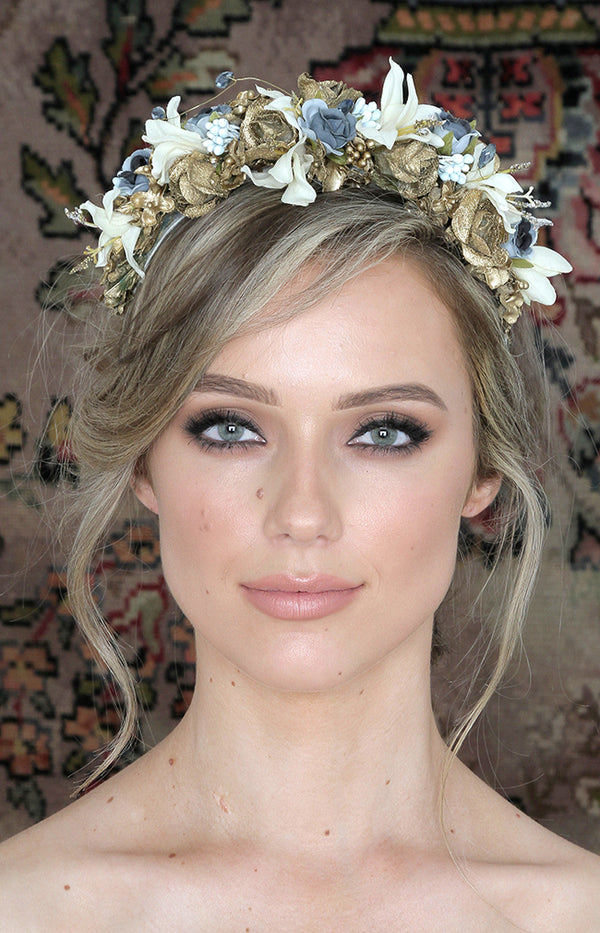 Handmade Floral Headpiece  - Blue/Ivory