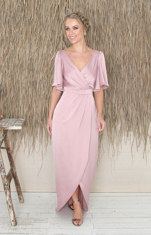 Renata Low Back Gown - Dusty Rose