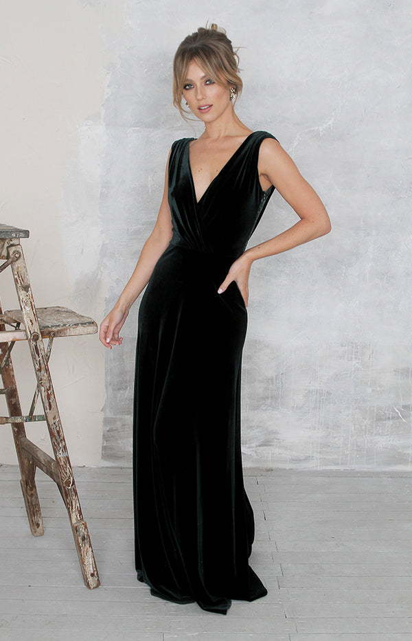 Marissa Velvet Gown - Forest Green