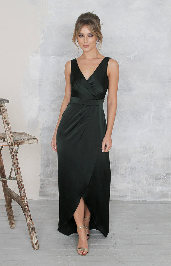 Fabia High Back Gown - Forest Green