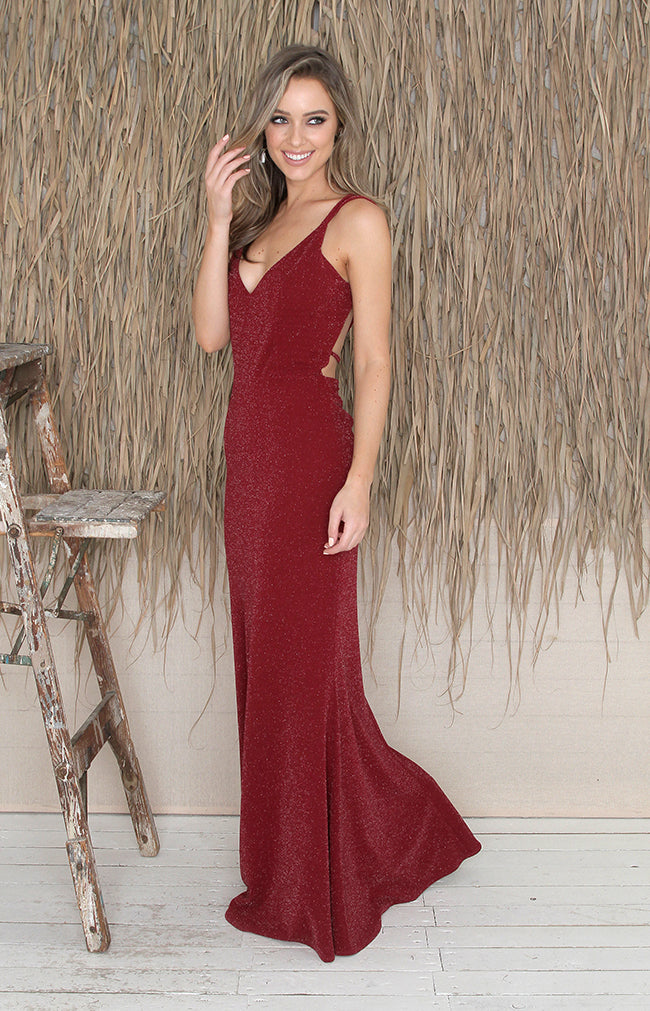 Talita Shimmer Gown - Red