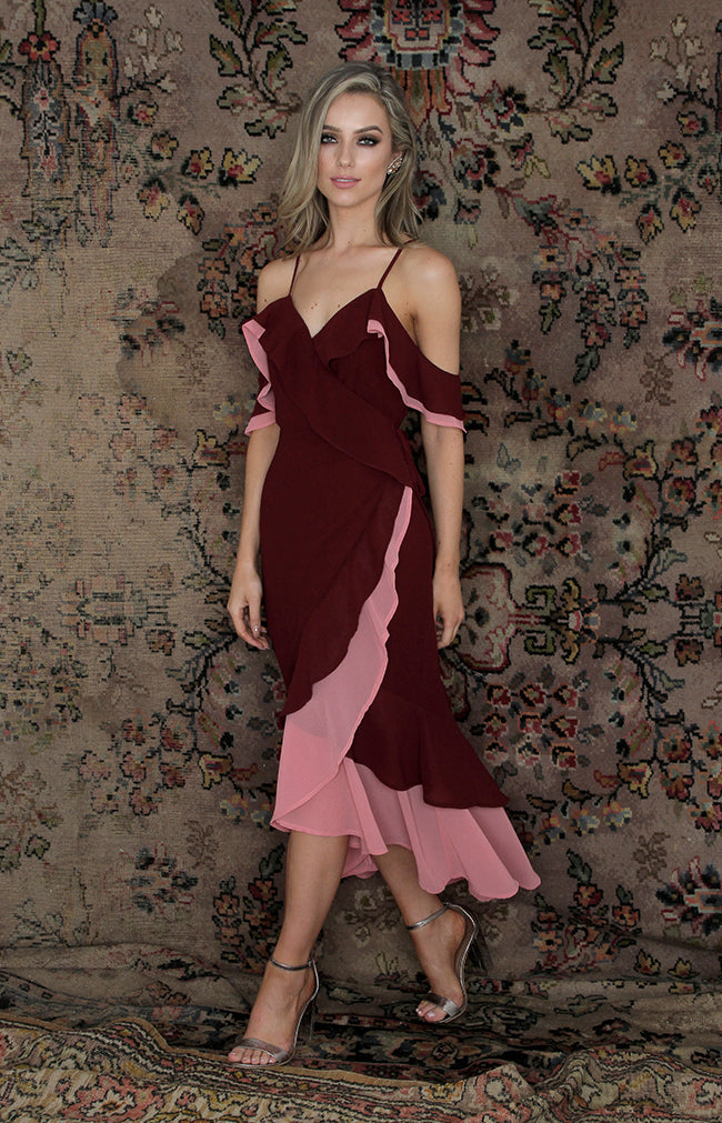 Isabella Dress - Wine/Candy