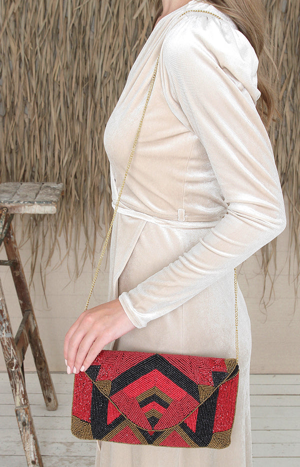 Roseau Beaded Clutch
