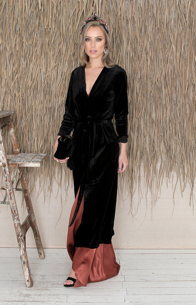 Tilda Velvet Duster Coat - Black