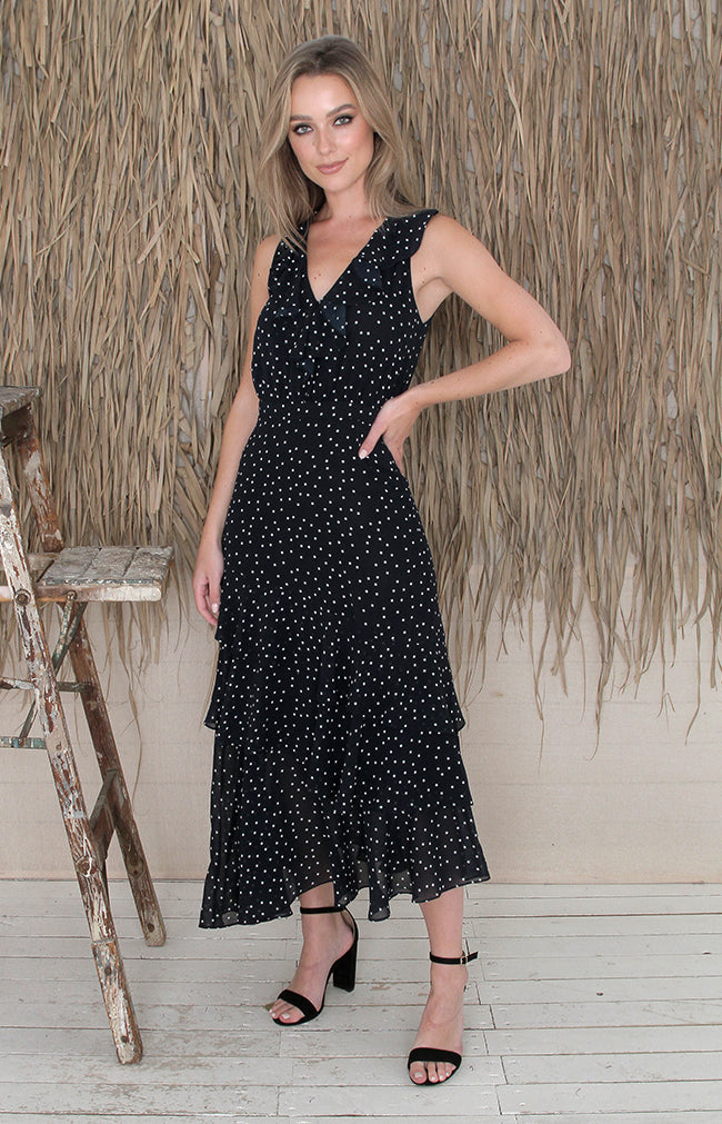 Evyn Dress - Navy Polka Dot