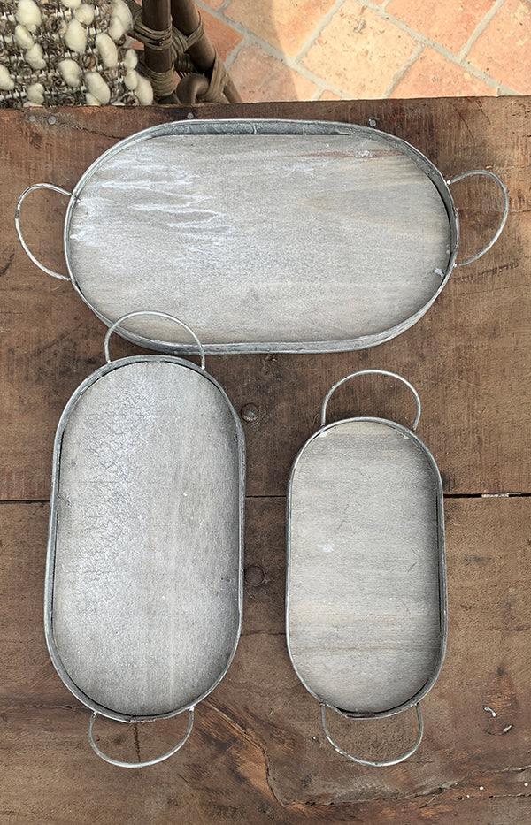 Oval Moulone Tray - Set of 3  - Grey Wash