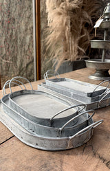 Rectangular Moulone Tray - Set of 3  - Grey Wash