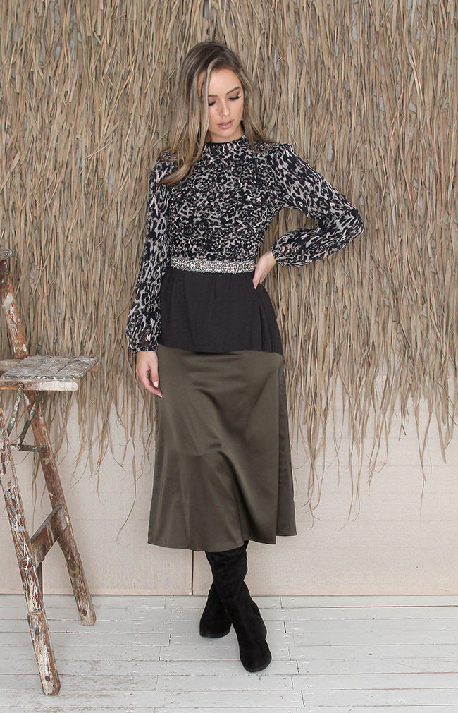 Clea Midi Skirt - Olive Grey