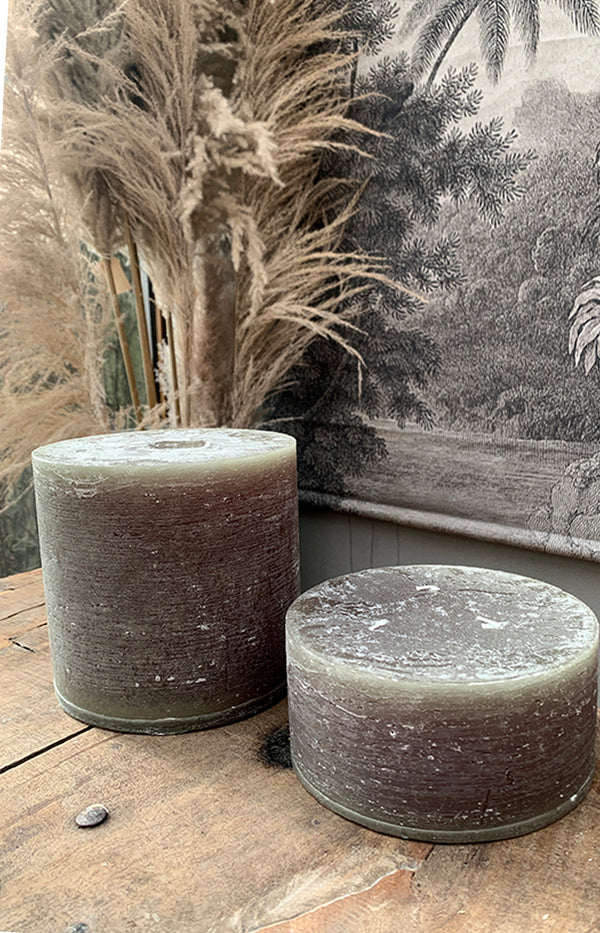 Macon Rustic Pillar Candle - 42H - Olive