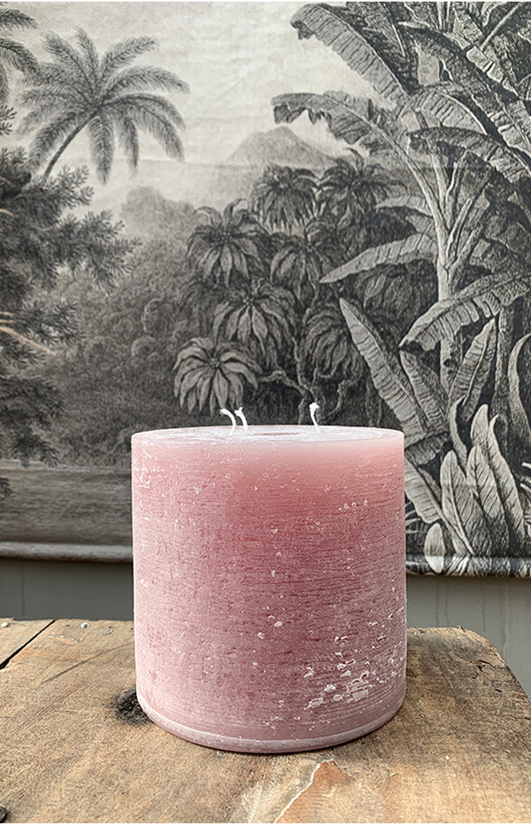 Macon Rustic Pillar Candle - 80H - Taupe