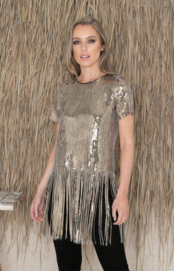 Naila Sequin Fringe Top - Gold