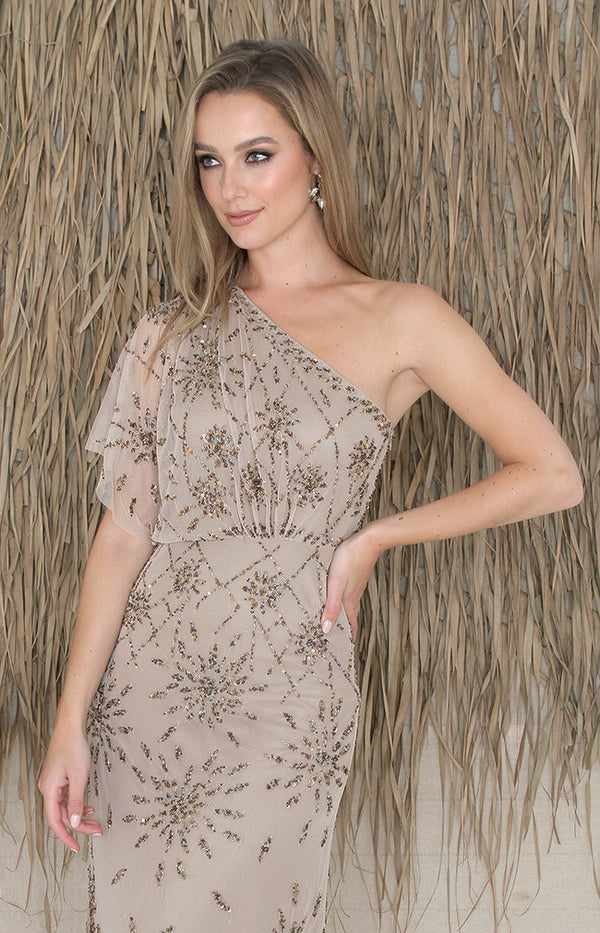 Zaelia One Shoulder Gown - Mocha