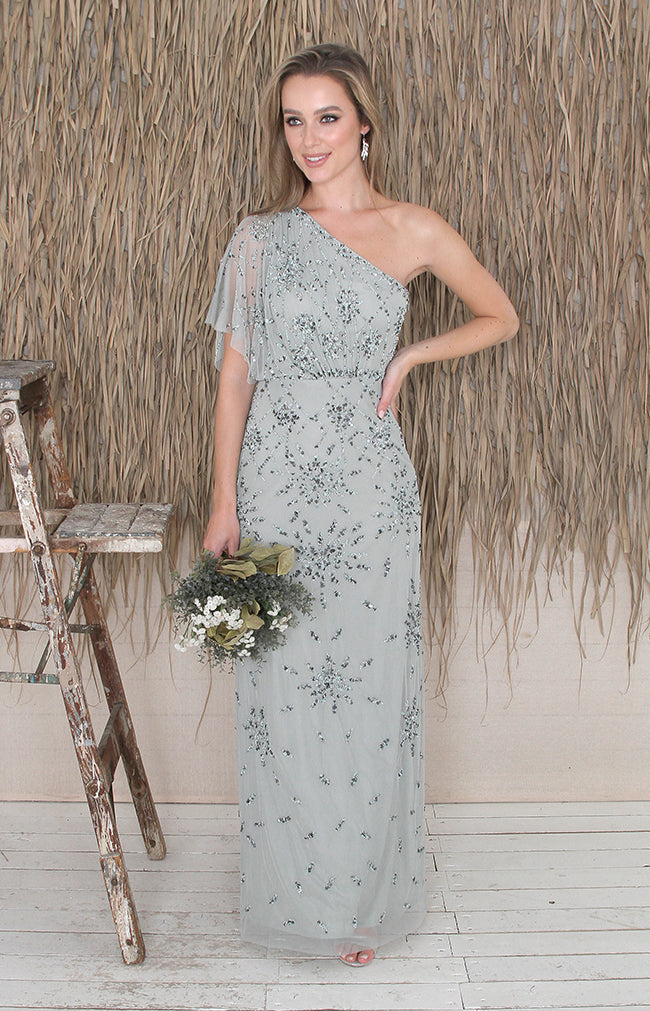Zaelia One Shoulder Gown - Sage