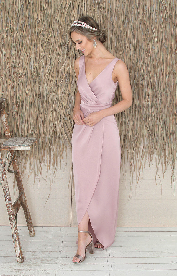 Fabia Low Back Gown  - Dusty Rose