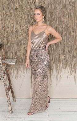 Valerie Full Length Skirt - Antique Gold