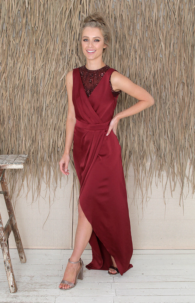 Salma Over/Under Top - Burgundy