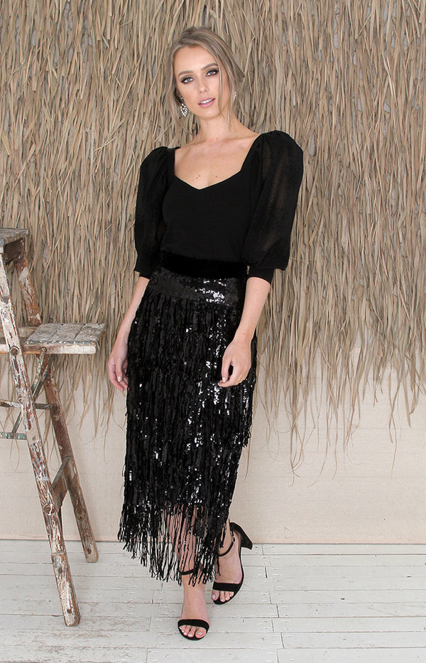 Marla Sequin Midi Skirt - Black