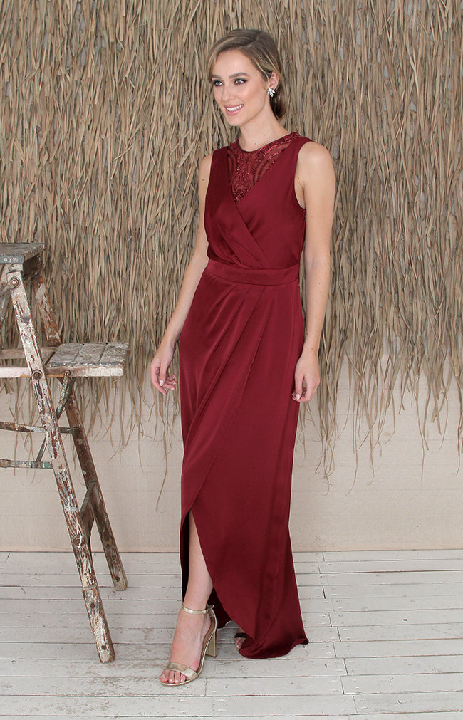 Paloma Over/Under Top - Burgundy