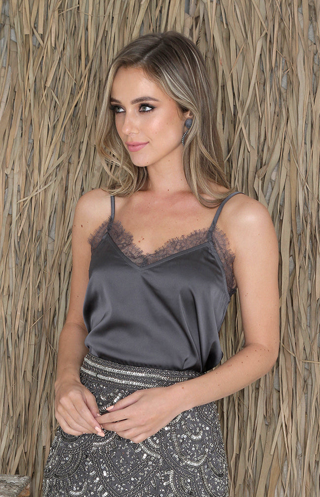 Emery Lace Cami - Graphite