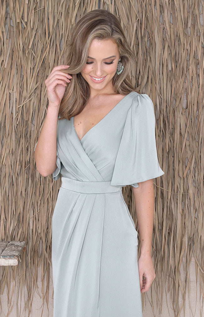 Renata Low Back Gown - Sage