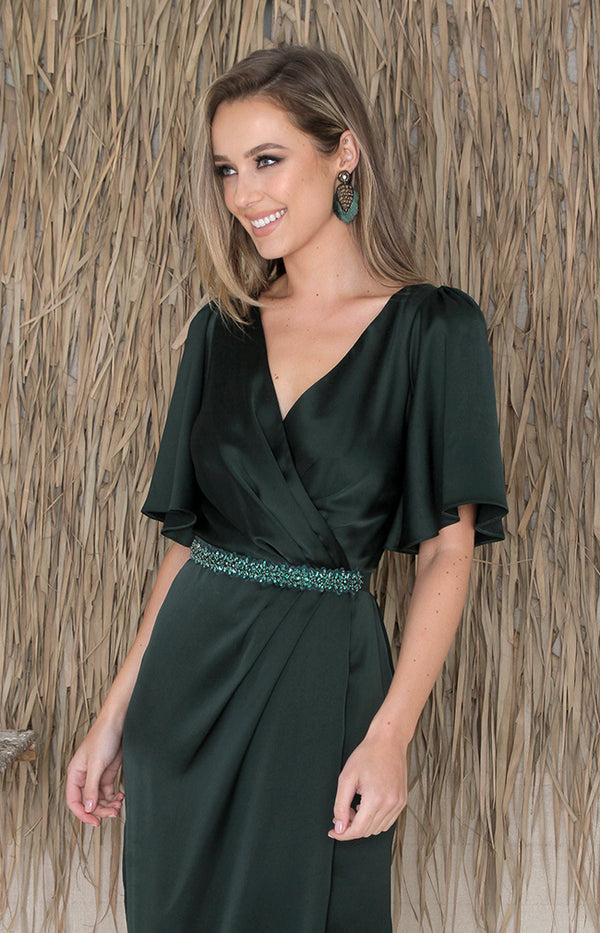 Renata Low Back Gown - Forest Green