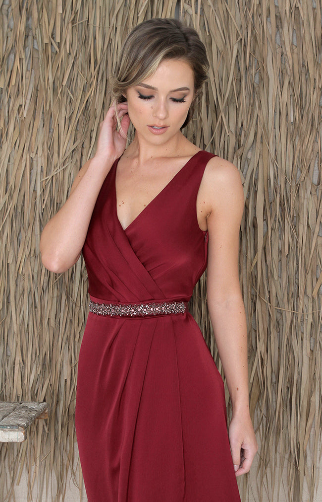 Fabia Low Back Gown - Burgundy