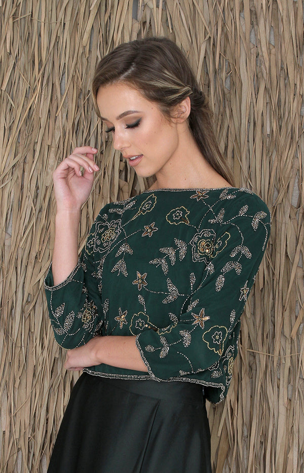 Eve Beaded Top - Forest Green