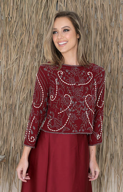Sadie Beaded Top - Wine