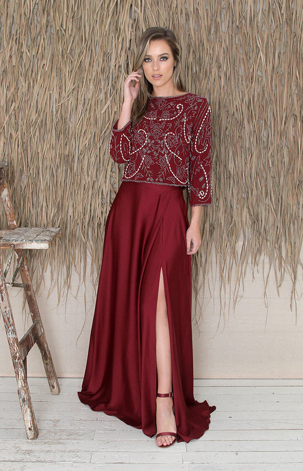 Sarena Skirt - Burgundy