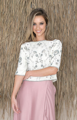 Sadhbh Beaded Top - Ivory Multi