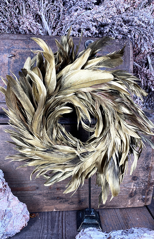 Feather wreath gold d25cm